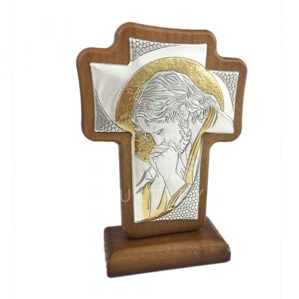 cruz de madera con lamina de plata de jesus