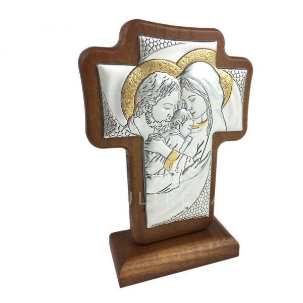 cruz madera y plata sagrada familia