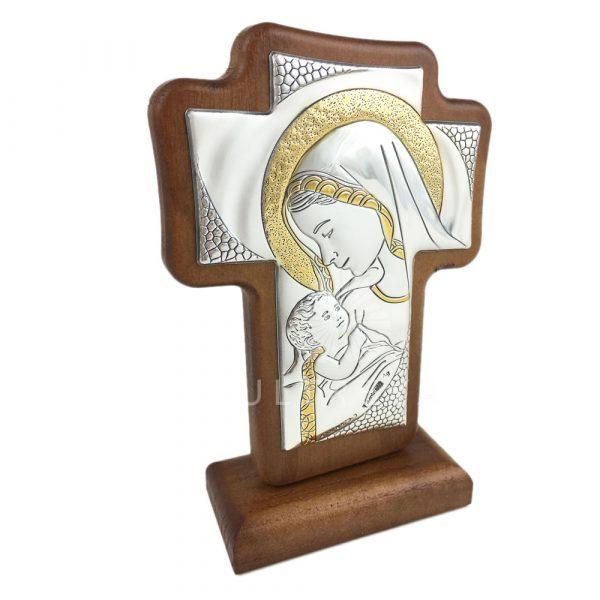 cruz madera plata virgen con niño