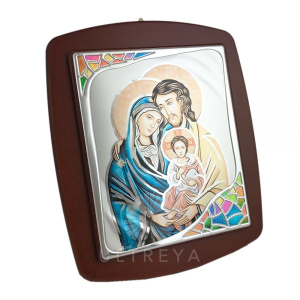 cuadro madera y plata sagrada familia