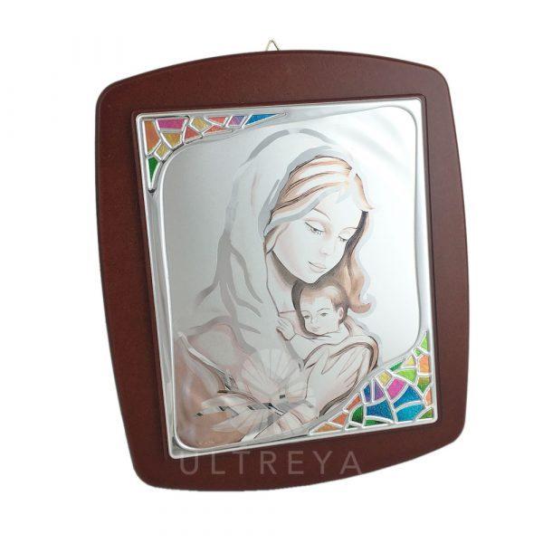 cuadro madera y plata virgen con niño