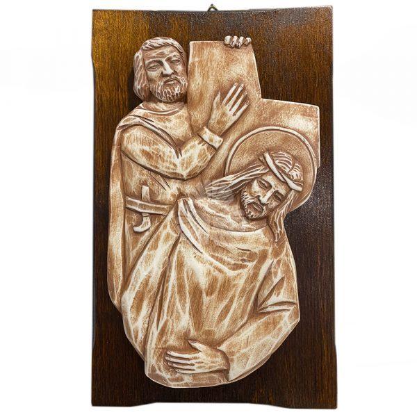 viacrucis de madera y alabastro