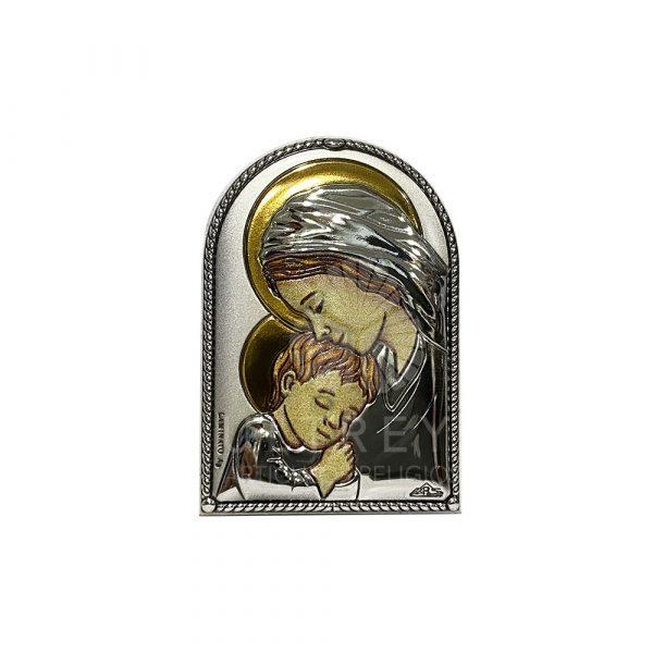 cuadrito virgen con niño plata
