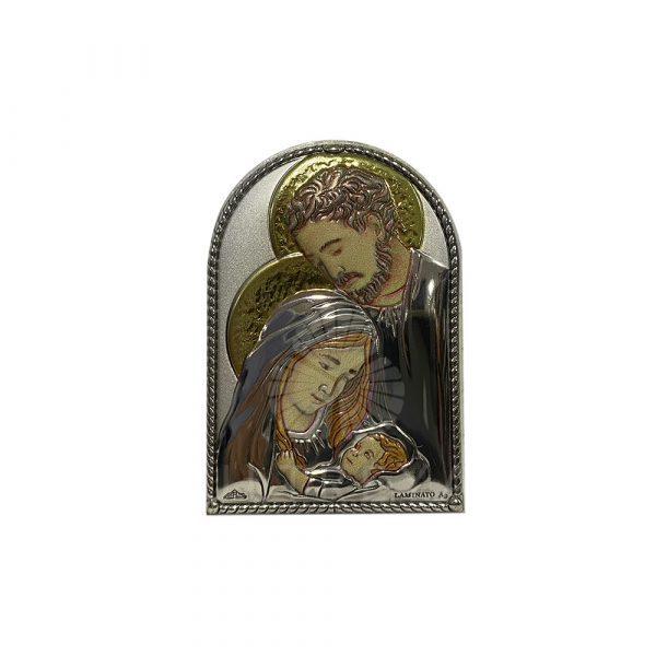cuadrito sagrada familia plata
