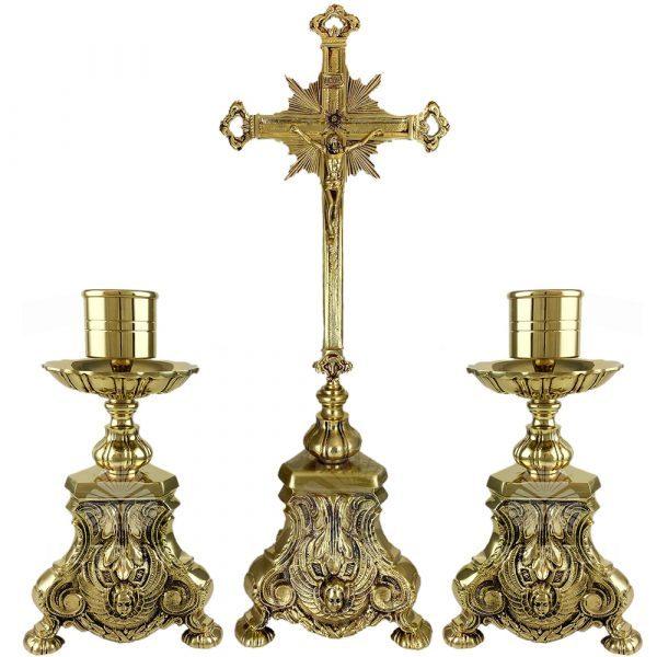 cruz de altar de bronce de 58 cm